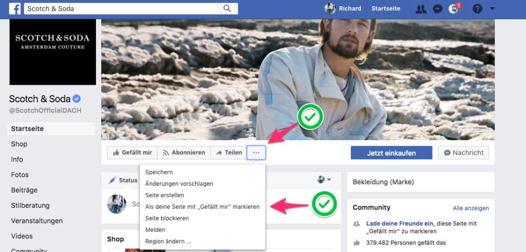 facebook als seite liken