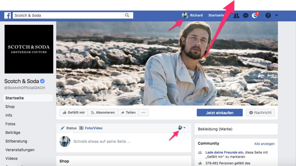 facebook seite als seite liken