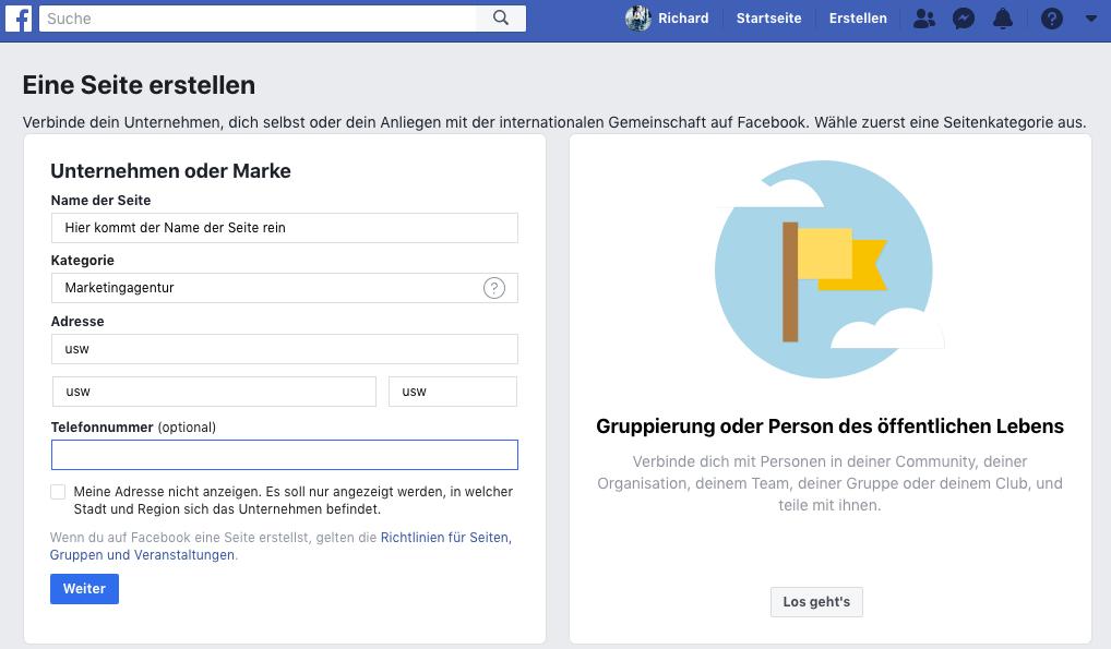 facebook unternehmensseite erstellen schritt 3