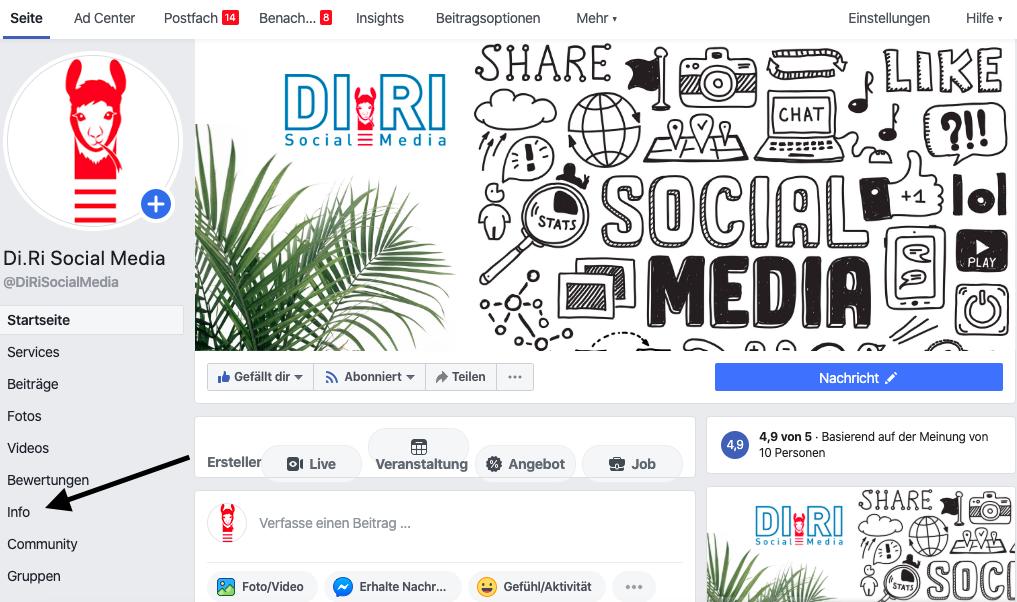 facebook seite url ändern