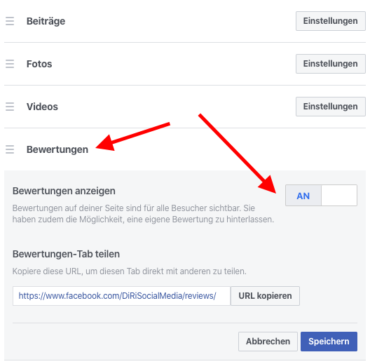 Facebook Sterne Bewertung abgeben