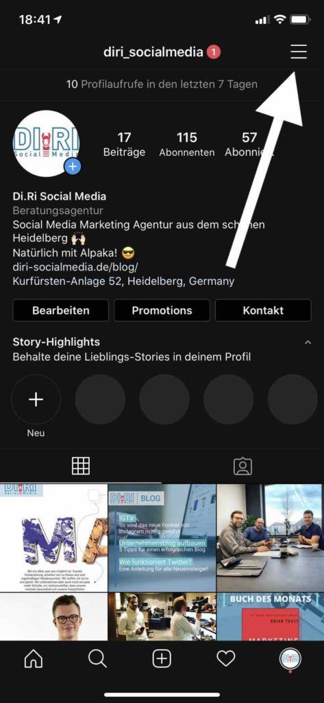 Facebook Seite mit Instagram verbinden