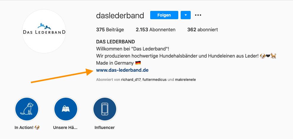 Instagram Link in der eigenen Bio einfügen