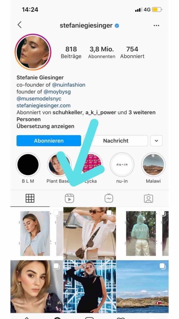 Instagram im eigenen Profil