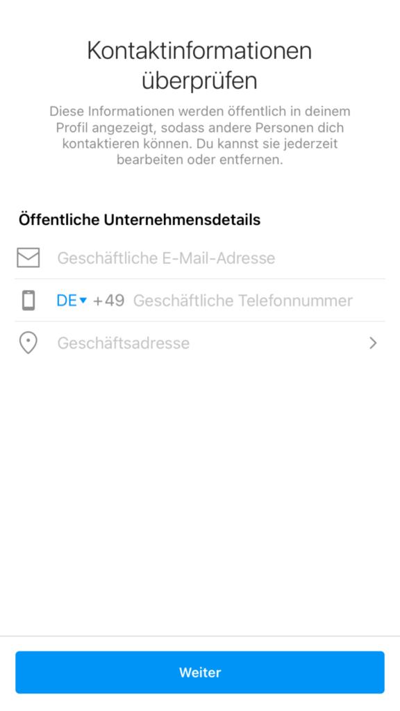 Kontaktinformationen zum Instagram Unternehmensprofil hinzufügen