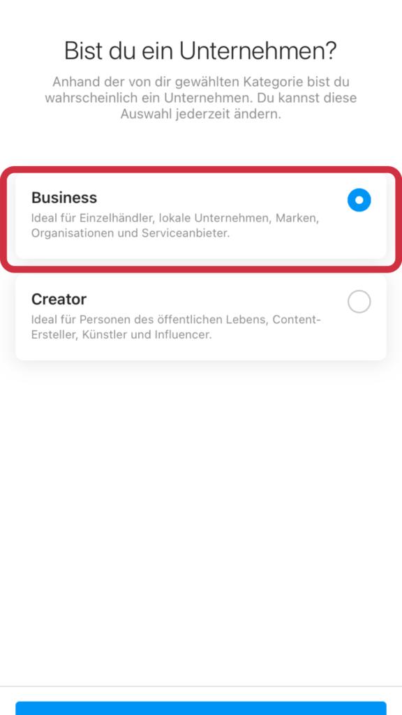 Business Variante für das Unternehmensprofil auswählen