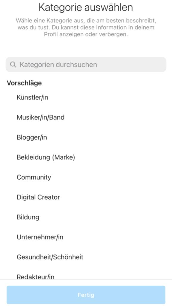 Kategorie Instagram Unternehmensprofil auswählen