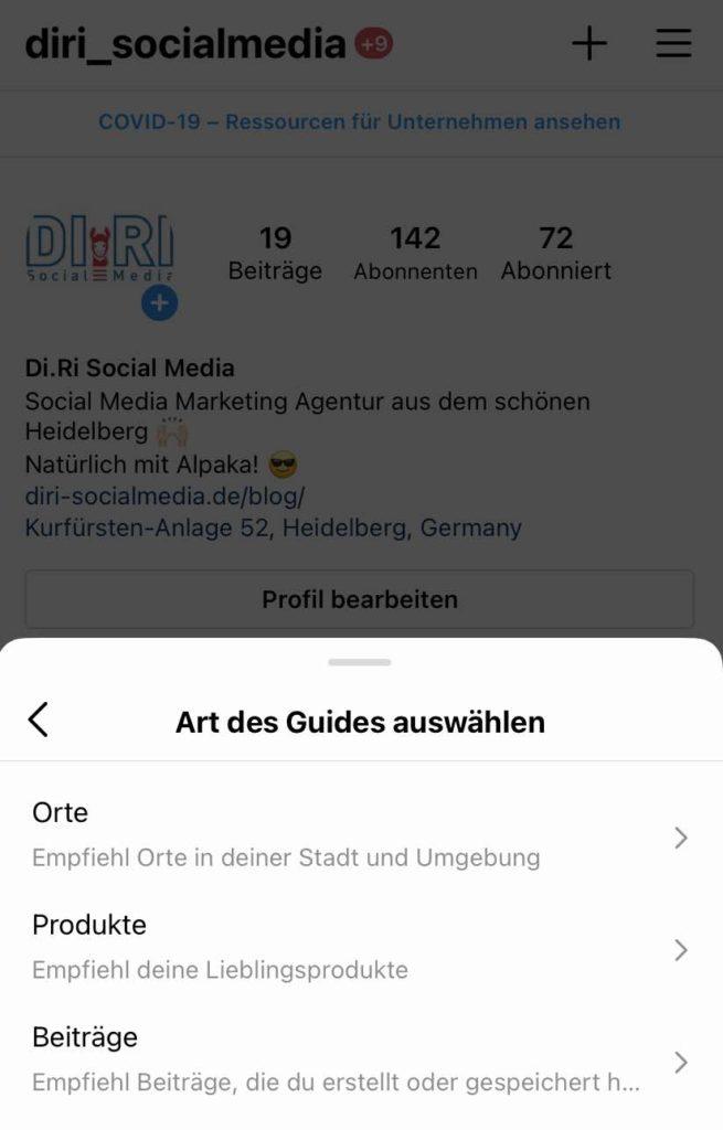 Die Kategorien die beim Instagram Guide gewählt werden können