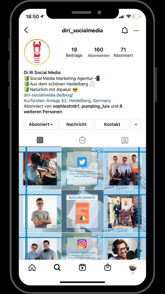Profil auf Instagram nutzen um auf die Insights zu kommen